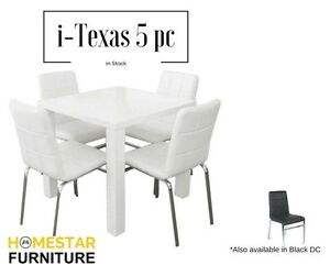 i-Texas 5pc White Table WHITE/BLACK chairs to choose from Sydney City Inner Sydney Preview