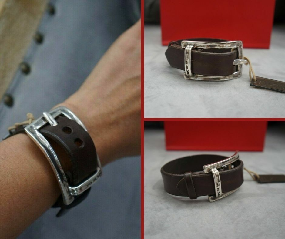 nwt unisex silver thick brown leather no