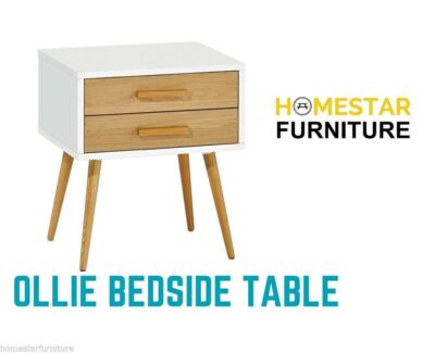 MDF with American Oak Ollie Bedside/Lamp Table