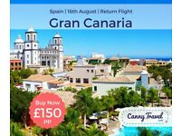 SAVE OVER 55% OFF THE AIRLINE'S PRICE 4 RETURN FLIGHT TO GRAN CANARIA, SPAIN from BIRMINGHAM PP