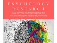 PSYCHOLOGY RESEARCH - PARTICIPANTS WANTED