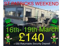 Caravan Hire Towyn - Happy Days Holiday Park - St Patricks Weekend 16th - 19th March