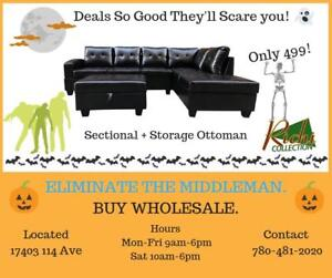 SCARY GOOD DEALS !!! Sectional + Storage Ottoman for 499 ONLY !!!