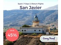 OVER 45% OFF THE CURRENT PRICE Cancellation! 2 Return Flights, flying from Leeds to San Javier