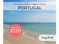 **SAVE £120 OFF THE AIRLINE'S PRICE** 2 RETURN FLIGHTS TO PORTUGAL from BRISTOL