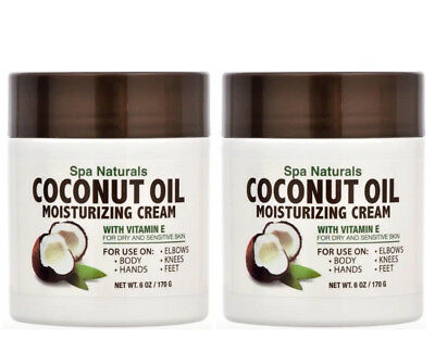 2x Spa Naturals COCONUT OIL MOISTURIZING CREAM (6 oz.) Vitamin E for Dry Skin