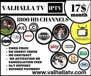 TV SERVICE 17$/month GUARANTEED SATISFACTION! 1700 Live Tv Channels, Movies&Tv Series, Sports, Ppv and more! ValhallaTv