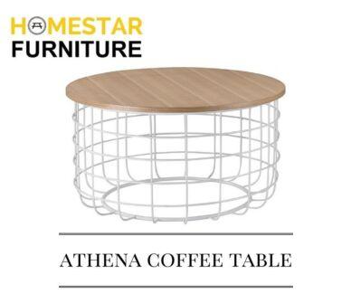 Athena Coffee Table 800x430mm White Metal Frame