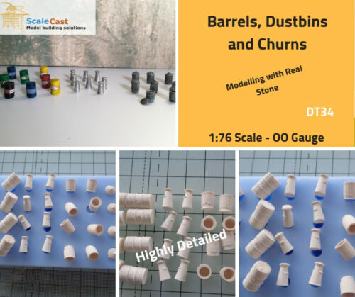 Dustbins and Milk Churns Mould for model railways - OO Gauge - DT34