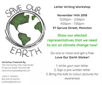 Save Our Earth . Letter Writing workshop.