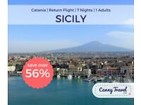 **SAVE 56% OFF THE AIRLINE'S PRICE** 1 RETURN FLIGHT TO SICILY from GATWICK