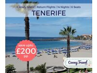 **SAVE £200 PP OFF THE AIRLINE'S PRICE** 6 RETURN FLIGHTS TO TENERIFE from GLASGOW