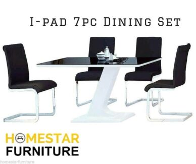 IPad 7pc Dining Set White/Black Chairs Available
