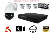 LIMITED STOCK, 4X CCTV 1080P CRYSTAL HD, 360 DEGREE, 18X ZOOM, NIGHT VISION FULLY INSTALLED CCTV