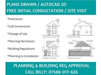 Plans Drawn / Free Initial Consultation & Site Visit - Planning Permission / Building Regulations