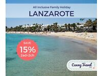 **SAVE 15% OFF THE AIRLINE'S PRICE** 2ad 2ch ALL INCLUSIVE HOLIDAY TO LANZAROTE from NEWCASTLE