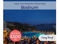 SAVE OVER 40% OFF THE CURRENT PRICE Cancellation! 1 Return Flight, flying from Edinburgh to Bodrum