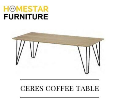 Ceres Coffee Table,Oak Veneer Top with Black Metal Frame