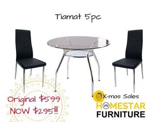 Tiamat 5pc Round Glass Dining Table Setting Orig $599 Now $295 Sydney City Inner Sydney Preview