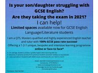 Online/face to face English Tuition for GCSE, years 10/11, 6th form/college, adult learners