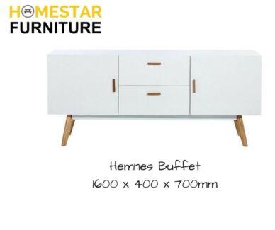 Hemnes White and Solid Oak Side Buffet,Popular Scandinavian Style