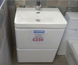 Sempra Floor Standing Vanity Unit and Basin in Gloss White