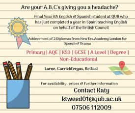 English Tutor for all ages and abilities