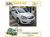 BAD CREDIT CAR CREDIT SPECIALISTS....VAUXHALL ZAFIRA IN WHITE 7 SEATER.....REP APR 12% FLAT
