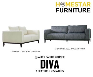 Diva 3 Seaters + 2 Seaters Fabric Lounge - NEW COMING