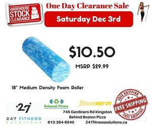 """18"""" Foam Roller Medium Density. While supplies last. No Rain Checks."""