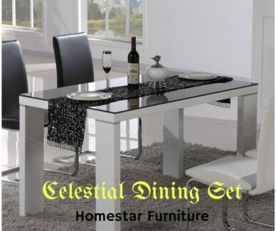 Brand New Celestial 7pc Dining Set,PU Leather Chairs