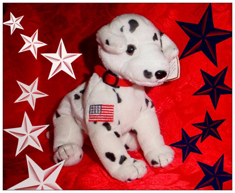 """NEW! Ty Beanie Baby Dalmatian FDNY Dog """"RESCUE""""  MWMT"""