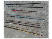 J0B L0T 7 x Vintage Fishing Rods Fly Beach & Spinning