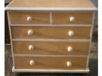 GOOD SOLID CONDITION, A NICE PINE/WHITE PAINTED CHEST OF 5,