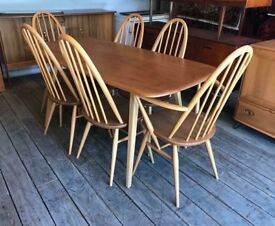 Mint Condition Ercol Plank Table & Six Chairs