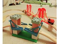 Huge Wooden Train Track Set with Magnetic Train Carriages and accessories