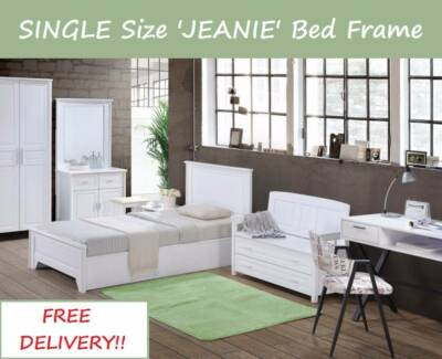 BRAND NEW Single Size WHITE Solid Bed Frame - DELIVERED FREE