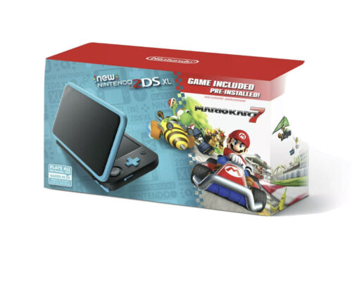 New Nintendo 2DS XL - Black+Turquoise With Mario Kart 7 Pre-