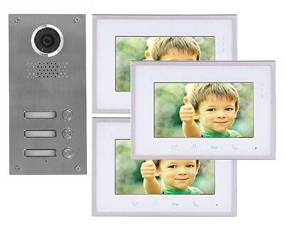 2 DRAHT 3-FAMILIENHAUS VIDEO TÜRSPRECHANLAGE GEGENSPRECHANLAGE 3 X 7'' MONITOR