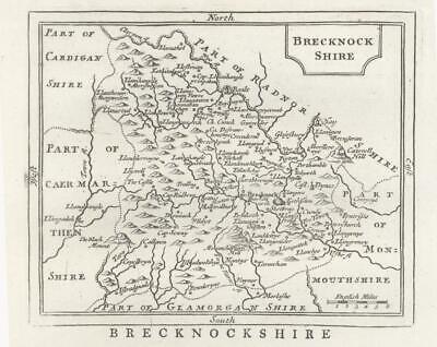 c1780 WALES Antique Map BRECKNOCKSHIRE by John Seller / Francis Grose (GM)