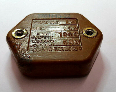 Sangamo Mica Capacitor .02uf 600v 1000v Test Threaded 20000pf