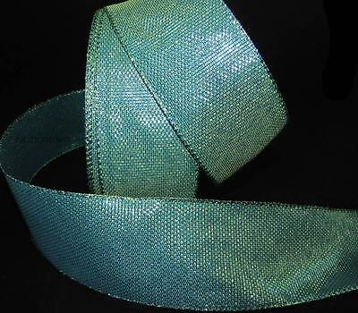 Teal Ribbons (5 Yds Peacock Blue Green Teal Mermaid Iridescent Wired Ribbon 2)