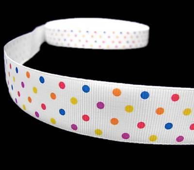 Swiss Dot Ribbon (5 Yards Colorful Confetti Swiss Polka Dot Polkadot Grosgrain Ribbon 7/8