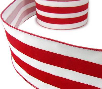 5 Yards Red White Wide Stripes Faux Velvet Christmas Wired Ribbon 4