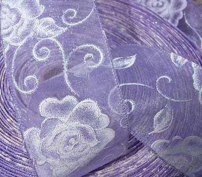 - 5 Yds Lavender Pastel Purple Wedding White Iridescent Roses Sheer Wired Ribbon 2