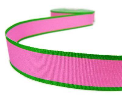 - 5 Yds Pink Green Edge Striped Grosgrain Ribbon 7/8