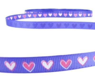 5 Yds SALE! Valentine Pink White Hearts Purple Grosgrain Ribbon 3/8