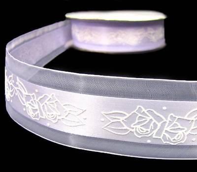 - 5 Yds Lilac Lavender Purple Roses Wedding Soft Satin Sheer Edge Ribbon 1 1/2