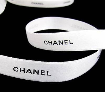 100% Authentic White Chanel Black Lettering Gift Wrap Hairbows Ribbon 1/2