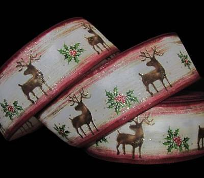 """5 Yards Christmas Elegance Reindeer Glitter Accented Winter Wired Ribbon 2 1/2""""W"""